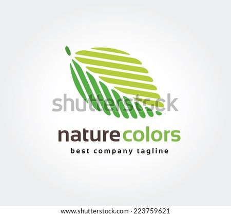 Abstract green leaf nature leafs care vector logo icon concept. Logotype template for branding and corporate design - stock vector
