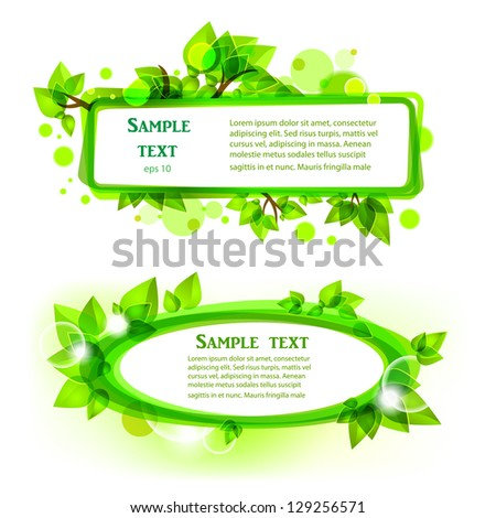Abstract green leaves frames - stock vector