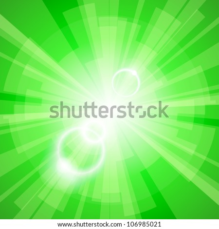 Abstract green light background with rays. Vector eps10 illustration - stock vector