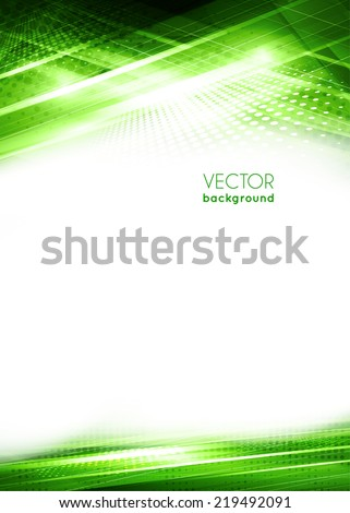 Abstract green light techno background. Vector - stock vector