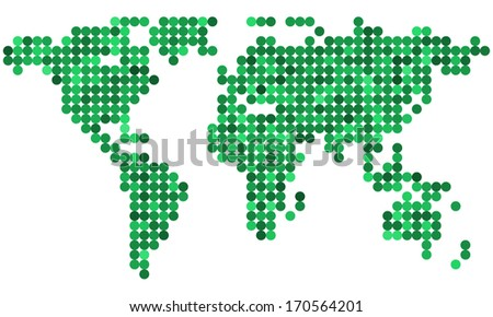 Abstract green map of the world - stock vector