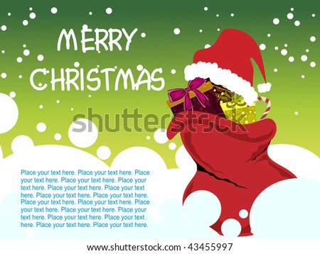 abstract green merry christmas background with santa bag with gifts, cap - stock vector
