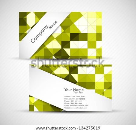 abstract green mosaic colorful business card presentation set white vector - stock vector