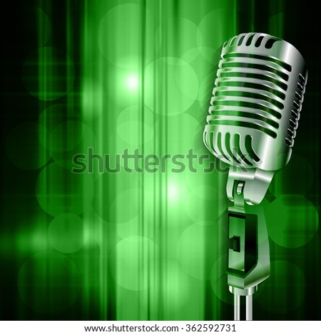 abstract green music background with retro microphone - stock vector