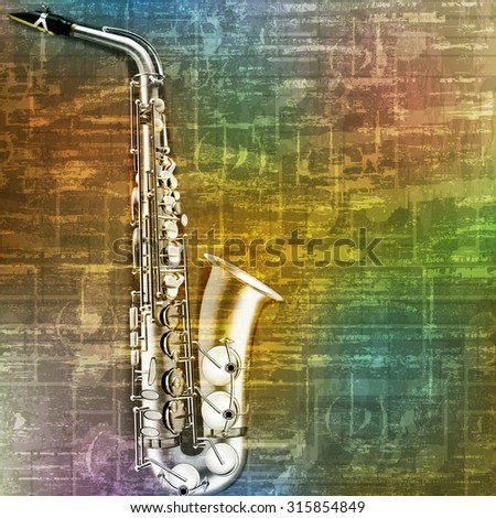 abstract green music grunge background saxophone vector illustration