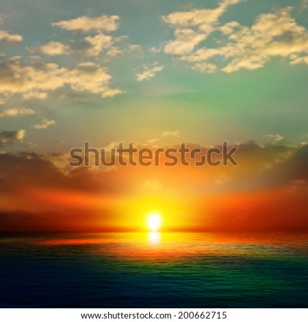abstract green nature background with sea sunset and clouds