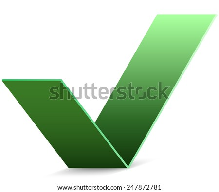 Abstract green paper check mark vector sign. - stock vector