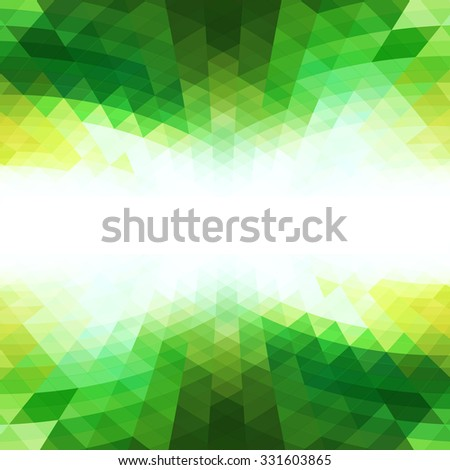 Abstract green perspective background design with white message text area - stock vector