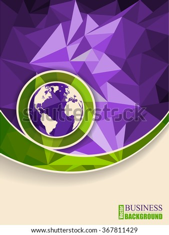 Abstract green purple brochure with polygons and globe