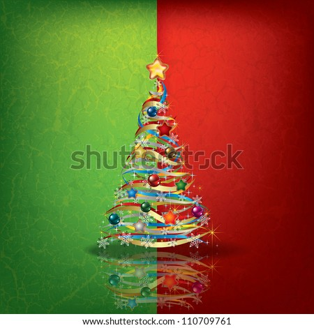 Abstract green red greeting with Christmas tree - stock vector