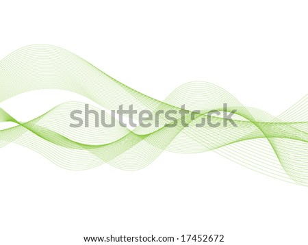 Abstract green ribbons - stock vector