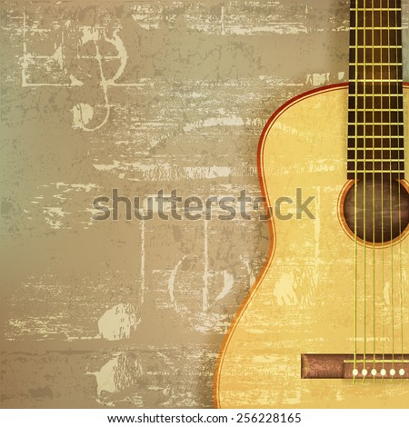 abstract green sound grunge background with acoustic guitar - stock vector