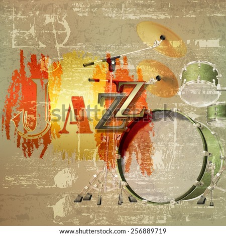 abstract green sound grunge background with drum kit and word Jazz - stock vector