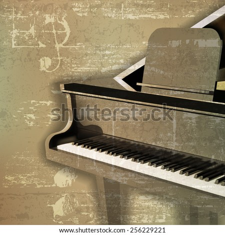 abstract green sound grunge background with grand piano - stock vector