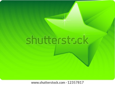 Abstract green star vector illustration design background - stock vector