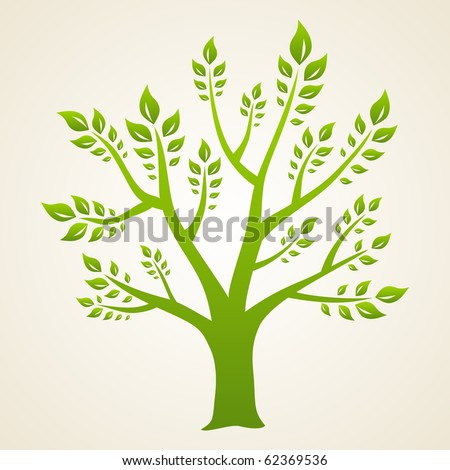 Abstract green tree. Symbol of eco and nature. - stock vector