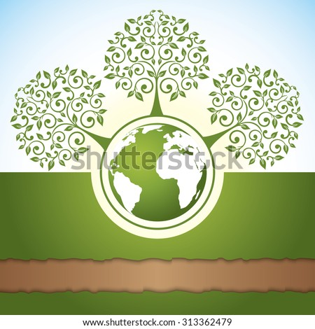 Abstract green trees and a globe on a earthy background. Vector ecology concept.