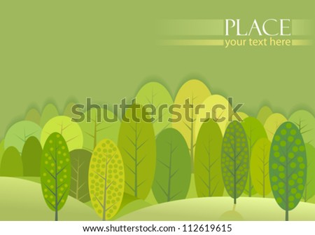 Abstract Green Trees Forest Background - stock vector