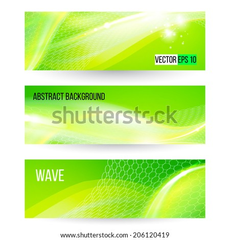 Abstract green wave banners, vector