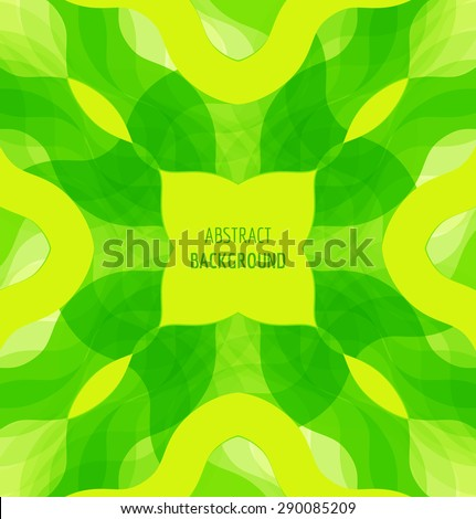 Abstract green waves background with banner. Vector illustration - stock vector