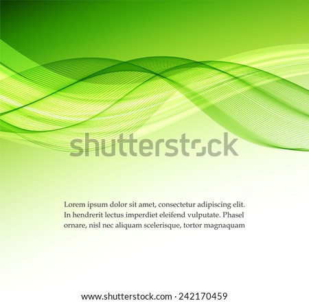 Abstract green wavy background - stock vector