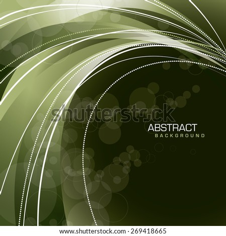 Abstract green wavy background. - stock vector