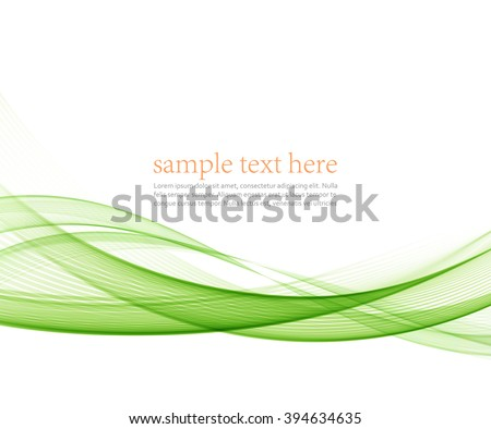 Abstract green wavy lines.  Colorful vector background. - stock vector