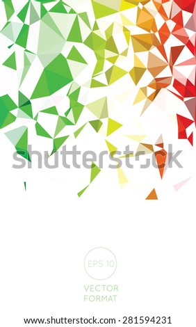 Abstract green yellow and red triangular low poly style vector background,Vector illustration - stock vector