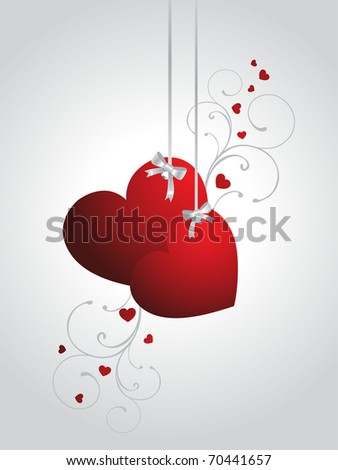 abstract grey background with hanging decorated red hearts - stock vector