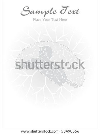 abstract grey background with human brain - stock vector