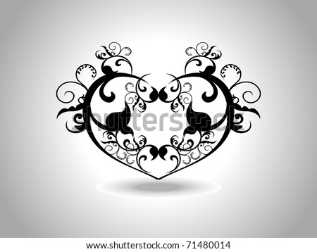 abstract grey background with isolated black creative design heart tattoo - stock vector