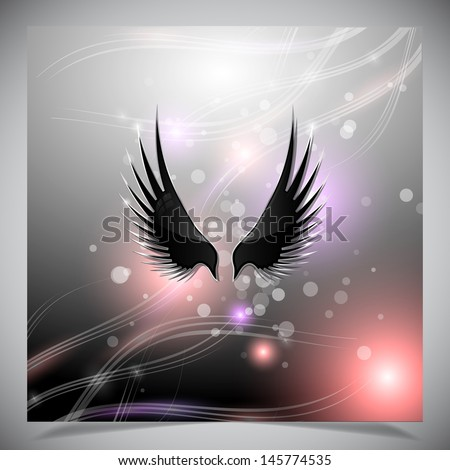 Abstract grey background with wings. Vector illustration - stock vector