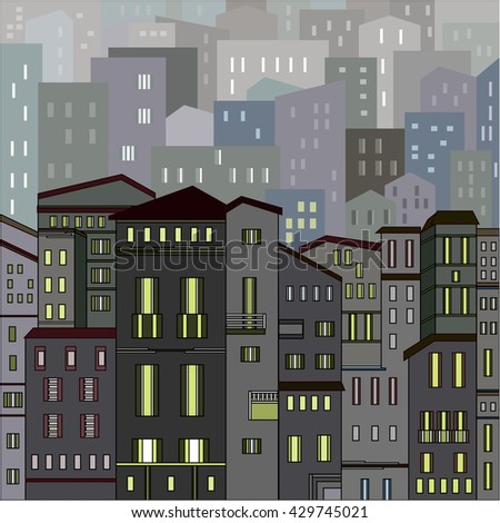 Abstract grey city view in outlines with many houses and buildings as a single piece at night with lights. Cartoon style. Digital vector image.