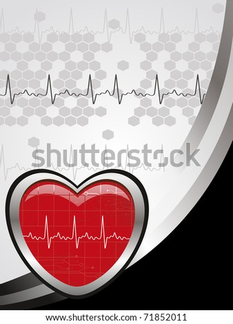 abstract grey honeycomb, heartbeat background with isolated red heart