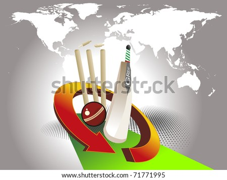 abstract grey map background with cricket supplies and green arrow - stock vector
