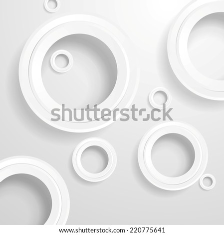 Abstract grey paper circles background. Vector design - stock vector