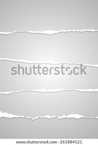 Abstract grey ragged edge paper. Vector design