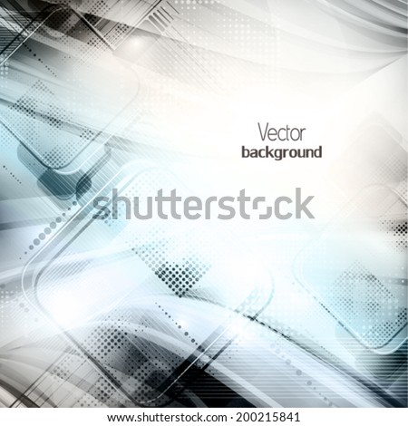 Abstract grey tech card with lighting effect. Vector