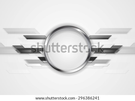 Abstract grey technology design with silver circle. Vector background - stock vector