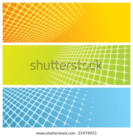 abstract grid banners, vector illustration - stock vector