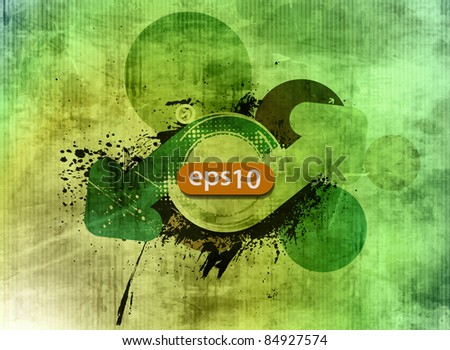 Abstract grunge arrow banner with texture background - stock vector