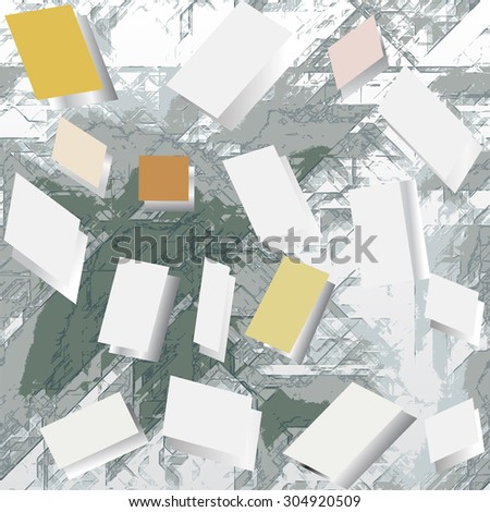 Abstract grunge background with blank notepads - stock vector