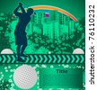 Abstract grunge background with golf player silhouette - stock photo