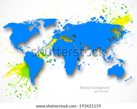 Abstract grunge background with map - stock vector