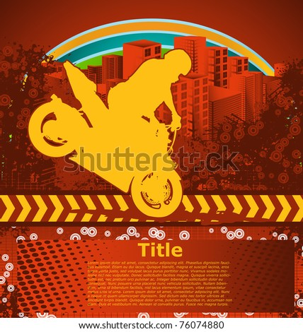 Abstract grunge background with motorcyclist silhouette - stock vector