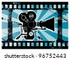 Abstract grunge background with movie camera, vector illustration - stock vector