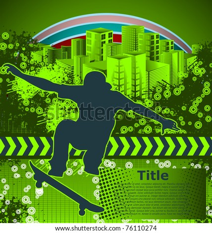 Abstract grunge background with skateboarder silhouette - stock vector