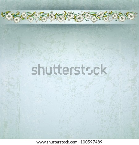 abstract grunge background with white spring flowers - stock vector