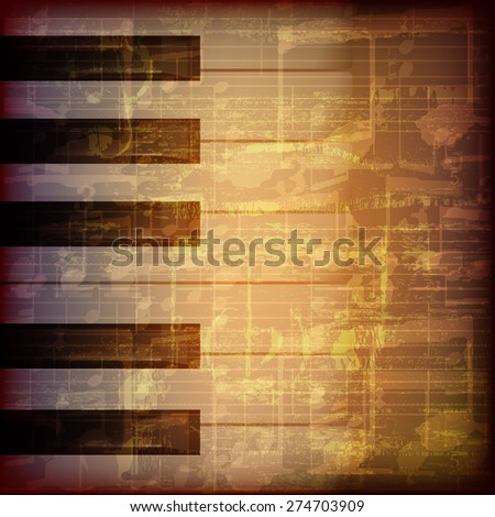 abstract grunge brown cracked music symbols vintage background with piano keys - stock vector