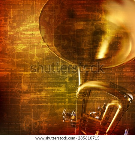 abstract grunge brown vintage music background with trumpet - stock vector